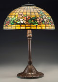 Art Glass:Tiffany , A Tiffany Studios Leaded Glass Dogwood Bronze Table Lamp,Corona, New York, circa 1905. Marks to shade: TIFFAN... (Total:3 Items)