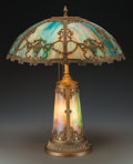 Art Glass:Other , An American Slag Glass and Gilt Metal Table Lamp, circa 1915. 24 hx 19-1/4 d inches (61.0 x 48.9 cm). ...
