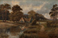 Fine Art - Painting, American:Antique  (Pre 1900), American School (19th Century). Country Home by a Creek. Oilon canvas. 20 x 30 inches (50.8 x 76.2 cm). ...