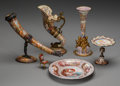 Ceramics & Porcelain, Six Viennese Painted Enamel and Gilt Bronze Objects, 19th century. 6-1/4 inches highest x 7-1/2 inches widest (15.9 x 19.1 c...