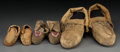 American Indian Art:Beadwork and Quillwork, Three Pairs of Woodlands Hide Moccasins ... (Total: 6 Items)