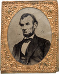 Political:Ferrotypes / Photo Badges (pre-1896), Abraham Lincoln: Large Gem Ferrotype....
