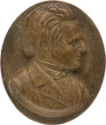Political:Ferrotypes / Photo Badges (pre-1896), Stephen A. Douglas: Composition Cameo-Style Brooch Insert....
