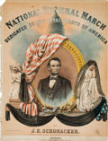 Political:Memorial (1800-present), Abraham Lincoln: Unusually Colorful Mourning Sheet Music....