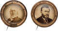 Political:Ferrotypes / Photo Badges (pre-1896), Ulysses S. Grant and Horace Greeley: Matching Cardboard Badges....(Total: 2 Items)