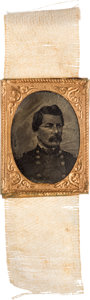 Political:Ferrotypes / Photo Badges (pre-1896), George B. McClellan: Gem Ferrotype on Ribbon....