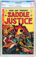 Golden Age (1938-1955):Western, Saddle Justice #7 (EC, 1949) CGC VF+ 8.5 Off-white to whitepages....