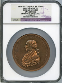 1809 James Madison Indian Peace Medal, Second Reverse, Julian-IP-5 -- Improperly Cleaned -- NGC Details. Unc
