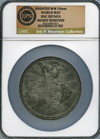 Undated World Map -- Mount Removed -- NGC Details. Unc