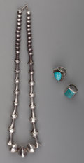 American Indian Art:Jewelry and Silverwork, Three Navajo Silver Jewelry Items... (Total: 3 )