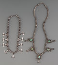 American Indian Art:Jewelry and Silverwork, Two Navajo Silver Necklaces. c. 1950... (Total: 2 )
