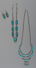 American Indian Art:Jewelry and Silverwork, Three Southwest Silver and Turquoise Jewelry Items... (Total: 4 )