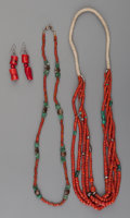 American Indian Art:Jewelry and Silverwork, Three Pueblo Coral Jewelry Items... (Total: 4 Items)