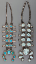 American Indian Art:Jewelry and Silverwork, Two Navajo Silver and Turquoise Squash Blossom Necklaces ...(Total: 2 Items)