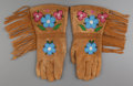 American Indian Art:Beadwork and Quillwork, A Pair of Cree Beaded Hide Gauntlets... (Total: 2 Items)