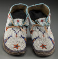 American Indian Art:Beadwork and Quillwork, A Pair of Southern Cheyenne Beaded Hide Moccasins ... (Total: 2Items)