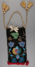 American Indian Art:Beadwork and Quillwork, A Chippewa Beaded Cloth Pouch ...