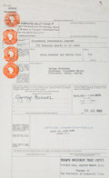 Music Memorabilia:Autographs and Signed Items, Beatles - George Harrison Signed Stock Transfer Document (UK, July30, 1969). ...