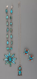 American Indian Art:Jewelry and Silverwork, Three Southwest Silver and Turquoise Jewelry Items. c. 1950 -2000... (Total: 4 Items)