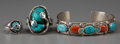 American Indian Art:Jewelry and Silverwork, Three Zuni Silver and Turquoise Jewelry Items. Effie Calavaza...(Total: 3 Items)