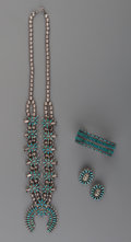 American Indian Art:Jewelry and Silverwork, Three Southwest Silver and Turquoise Jewelry Items. c. 1960...(Total: 4 )
