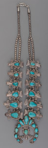 American Indian Art:Jewelry and Silverwork, A Zuni Silver and Turquoise Squash Blossom Necklace. ...
