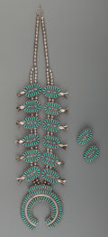 American Indian Art:Jewelry and Silverwork, A Zuni Silver and Turquoise Jewelry Suite. c. 1980... (Total: 3Items)