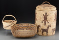 American Indian Art:Baskets, Three Papago Bundle-Coiled Baskets. c. 1950 ... (Total: 3 Items)