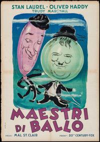 """The Dancing Masters (20th Century Fox, late 1940s). First Post-War Release Italian Foglio (27"""" X 39.5""""). Comed..."""