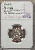 Bust Quarters, 1836 25C B-2, R.2, -- Improperly Cleaned -- NGC Details. AU. NGC Census: (2/2). PCGS Population (0/1). Mintage: 472,000. ...