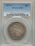 Seated Half Dollars: , 1877-S 50C XF45 PCGS. PCGS Population (60/516). NGC Census: (28/417). Mintage: 5,356,000. Numismedia Wsl. Price for problem...