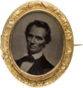 Political:Ferrotypes / Photo Badges (pre-1896), Abraham Lincoln: Gorgeous Ferrotype Brooch....