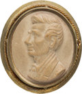 Political:Ferrotypes / Photo Badges (pre-1896), Abraham Lincoln: Composition Cameo-Style Brooch....