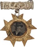 Political:Ferrotypes / Photo Badges (pre-1896), Horace Greeley: Greeley-in-Hat Ferrotype Badge....