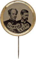 Political:Ferrotypes / Photo Badges (pre-1896), Seymour & Blair: Bold Ferrotype Jugate Stickpin....