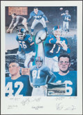 Football Collectibles:Photos, New York Giants Greats Multi-Signed Lithograph.. ...