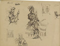 Fine Art - Painting, European:Antique  (Pre 1900), SWISS SCHOOL (Nineteenth Century) . Figures in Parade Armor.Pen and ink on paper. 8-1/2 x 11 inches (21.6 x 27.9 cm). ...