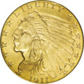 Indian Quarter Eagles: , 1911 $2 1/2 MS65 PCGS. Orange and lime tints grace this satiny and nearly unmarked Gem. The Indian's cheekbone has a hint o...