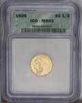 Indian Quarter Eagles: , 1926 $2 1/2 MS63 ICG. An attractive quarter eagle with a frostyyellow gold obverse and a satiny yellow reverse. Sharply de...