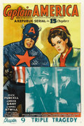 "Movie Posters:Serial, Captain America (Republic, 1944). One Sheet (27"" X 41""). Chapter 9-- ""Triple Tragedy.""..."