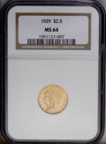 Indian Quarter Eagles: , 1929 $2 1/2 MS64 NGC. Sharply struck and highly lustrous with onlya few tiny blemishes keeping it from the Gem classificat...