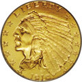 Proof Indian Quarter Eagles: , 1910 $2 1/2 PR66 PCGS. The 1910 issue continues the Roman Gold orSatin Finish proofing process for gold proofs as begun th...