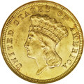 Three Dollar Gold Pieces: , 1854 $3 MS64 NGC. This denomination was authorized by the Act ofFebruary 21, 1853, the same Congressional legislation that...