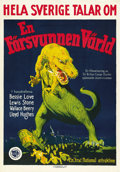 "Movie Posters:Science Fiction, The Lost World (First National, 1925). Swedish One Sheet (21.5"" X28.5""). ..."