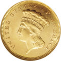 Three Dollar Gold Pieces: , 1885 $3 MS65 Prooflike NGC. This prooflike, yellow-gold example isan important survivor from an original mintage of only 8...