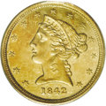 Liberty Half Eagles: , 1842-C $5 Small Date AU58 PCGS. Variety 4-C, the only known dies.Die State II. The two die states of this variety are easi...