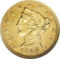 Liberty Half Eagles: , 1849-C $5 AU55 NGC. Variety 12-F, State II. Lightly cracked fromthe leaves to border, just grazing the upper left serif of...