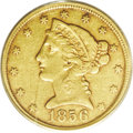 1856-C $5 XF45 PCGS. Variety 24-J, the only known dies. Despite its mintage of 28,457 pieces, the 1856-C is a rare and u...