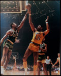 Basketball Collectibles:Photos, Wilt Chamberlain and Bill Russell Signed Oversized Photograph....