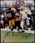 Football Collectibles:Photos, Deion Sanders and Rod Woodson Signed Oversized Photograph....